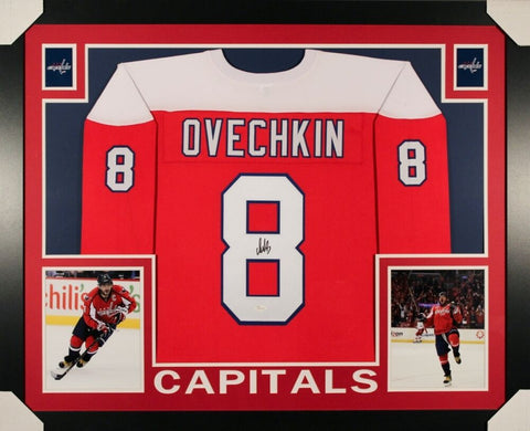 Alexander Ovechkin Signed Washington Capitals 35x43 Custom Framed Jersey (JSA)