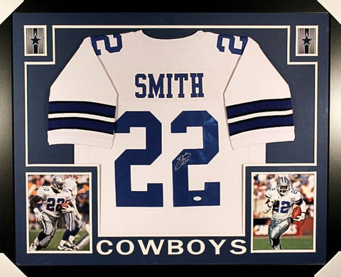 Emmitt Smith Signed Dallas Cowboys 35x43 Custom Framed White Jersey (JSA COA)