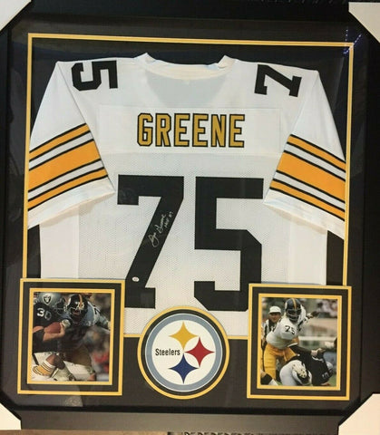 "Mean Joe Greene Signed s 36""x39"" Framed Pittsburgh Steelers Jersey / 10xPro Bowl"