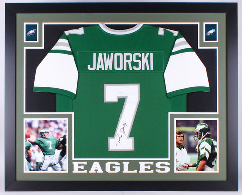 Ron Jaworski Signed Philadelphia Eagles 35x43 Custom Framed Jersey (JSA COA)