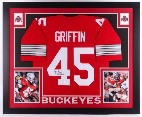 Archie Griffin Signed Ohio State Buckeyes 35x43 Custom Framed Jersey (JSA COA)