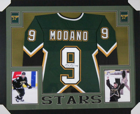 Mike Modano Signed Dallas Stars 35x43 Custom Framed Jersey (JSA Hologram)