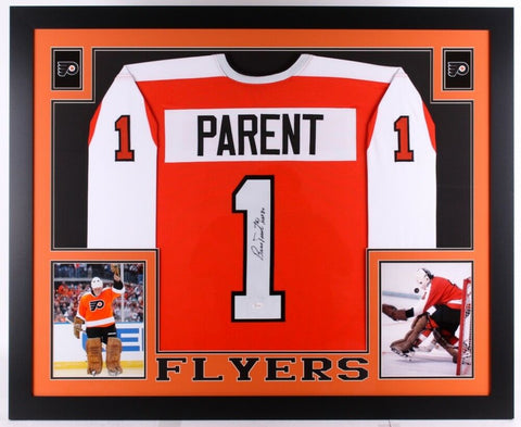 "Bernie Parent Signed Flyers 35x 43 Custom Framed Jersey Inscribed ""HOF 84"" / JSA"