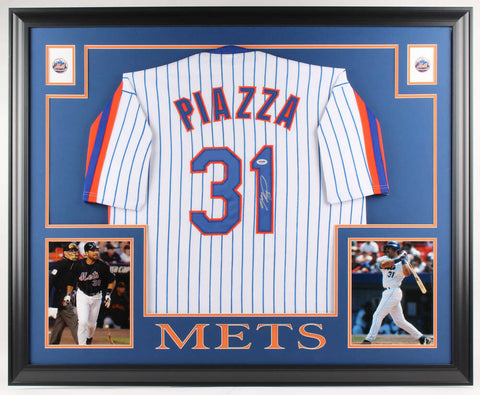 Mike Piazza Signed New York Mets 35x43 Framed Pinstripped Jersey (PSA COA)