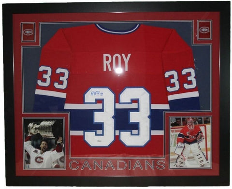 "Patrick Roy Signed Canadiens 35.5"" x 43.5"" Custom Framed Jersey (JSA COA)"