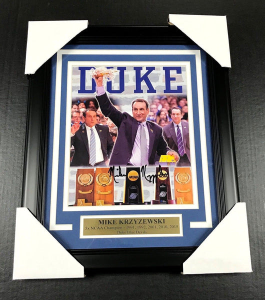 Mike Krzyzewski Coach K Autographed 8x10 Photo Duke Blue Devils Framed JSA
