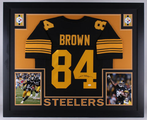 Antonio Brown Signed Steelers 35x43 Custom Framed Jersey (JSA) 6x Pro Bowl W.R.