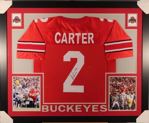 Cris Carter Signed Ohio State Buckeyes 35x43 Custom Framed Jersey (JSA) Vikings