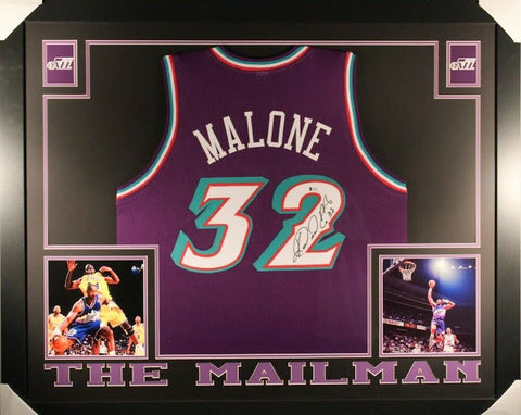 "Karl Malone Signed Jazz 35"" x 43"" Custom Framed Jersey (Beckett) The Mailman !"