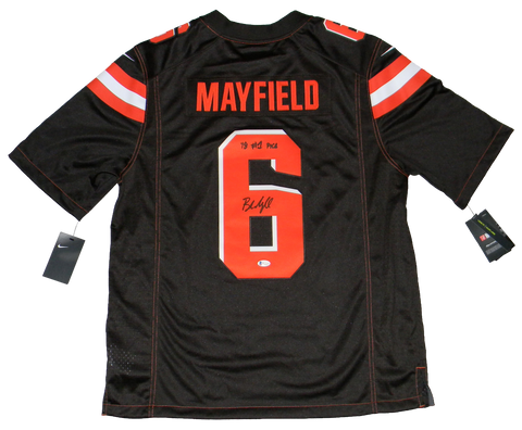 BAKER MAYFIELD SIGNED CLEVELAND BROWNS #6 NIKE LIMITED JERSEY W/ 18 #1 PICK