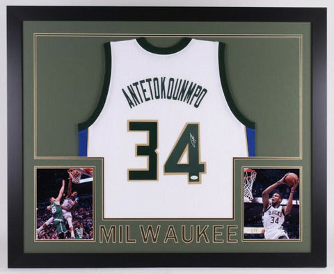 "Giannis Antetokounmpo Signed Milwaukee Bucks 35""x 43"" Framed Jersey (JSA COA)"