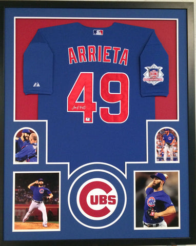 Jake Arrieta Chicago Cubs 35x43 Custom Framed Jersey / NL Cy Young Award (2015)