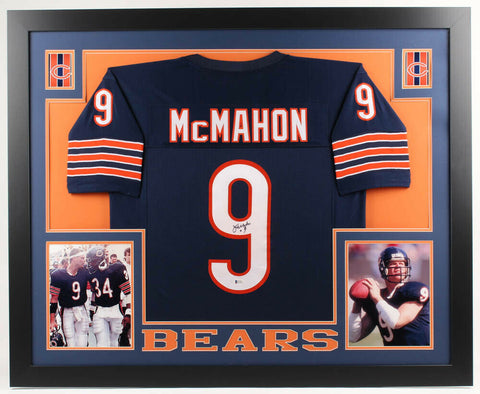 Jim McMahon Signed Chicago Bears 35x43 Framed Jersey (Beckett COA) Super Bowl XX