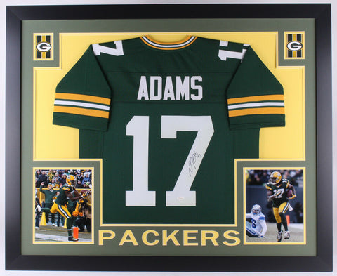 Davante Adams Signed Green Bay Packers 35x43 Custom Framed Jersey (JSA COA)