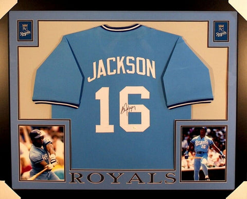 Bo Jackson Signed Royals 35x43 Custom Framed Jersey / MLB All-Star Game MVP 1989