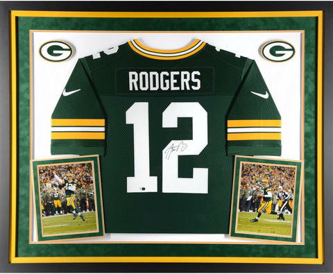 Aaron Rodgers Autographed & Framed Green Packers Nike Jersey Auto Fanatics COA