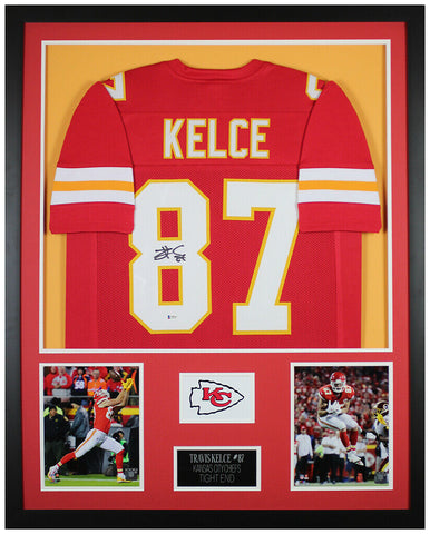 Travis Kelce Autographed & Framed Red Chiefs Jersey Auto Beckett COA