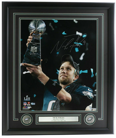 Nick Foles Signed Framed 16x20 Eagles Super Bowl LII Photo