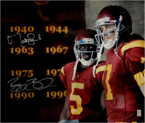 Reggie Bush & Matt Leinart Dual Signed 20x24 Photo USC Trojans 2005 Champs JSA