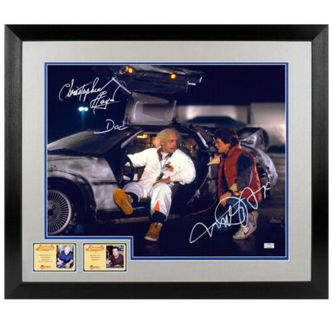 Michael J Fox & Christopher Lloyd Autographed Back to the Future Delorean 16x20 Framed Photo