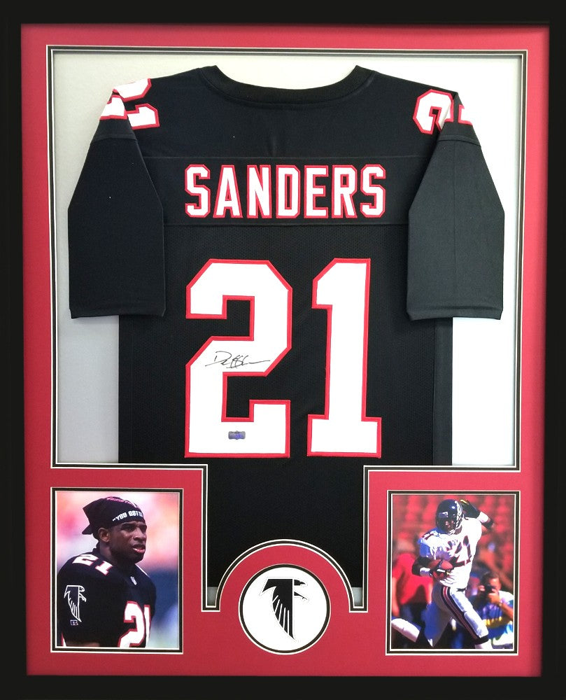 reputable site 77ed9 ea10e Deion Sanders Signed Framed Atlanta Falcons Black Custom Jersey