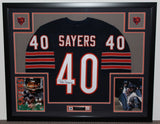Gale Sayers Autographed and Framed Navy Bears Jersey Auto JSA Certified