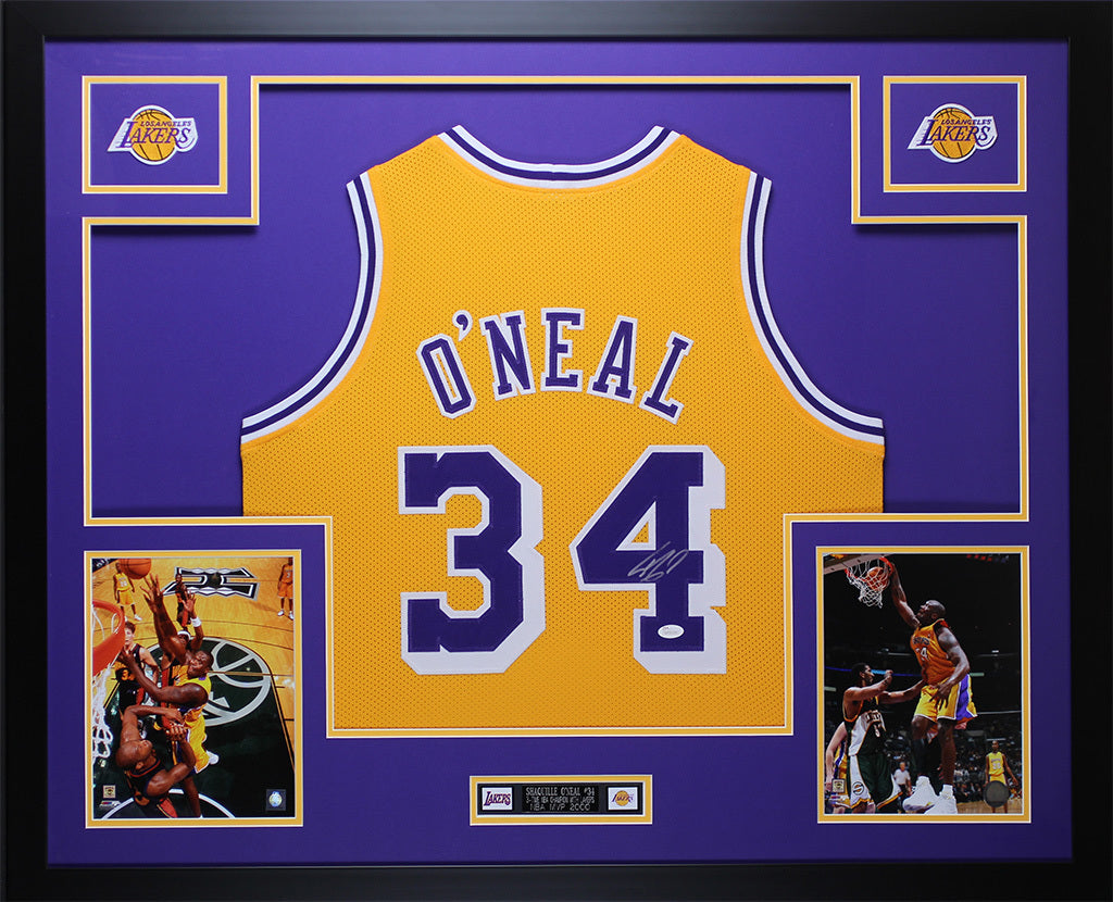 6165076f4 Shaquille O Neal Autographed   Framed Gold Lakers Jersey Auto JSA COA –  Super Sports Center