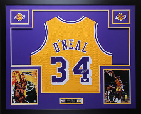 Shaquille O'Neal Autographed & Framed Gold Lakers Jersey Auto JSA COA D7-L