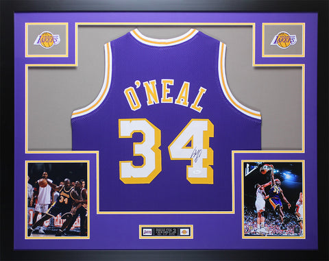 Shaquille O'Neal Autographed & Framed Purple Lakers Jersey Auto JSA COA D6-L