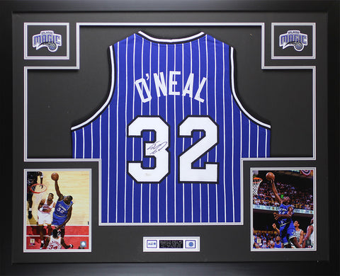 Shaquille O'Neal Autographed & Framed Pinstriped Orlando Jersey Auto JSA COA