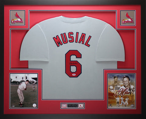 Stan Musial Autographed and Framed Gray Cardinals Jersey Auto PSA COA D7-L