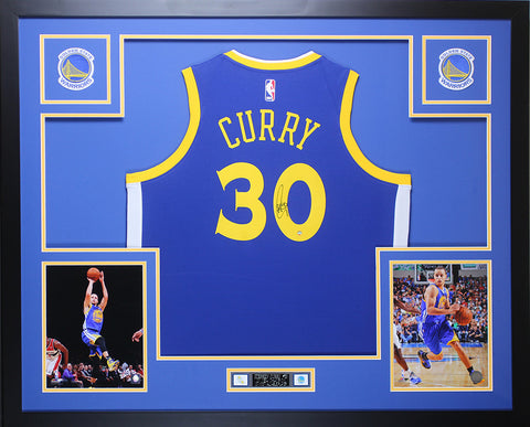 Stephen Curry Autographed & Framed Blue Warriors Jersey Auto Steiner COA D7-L