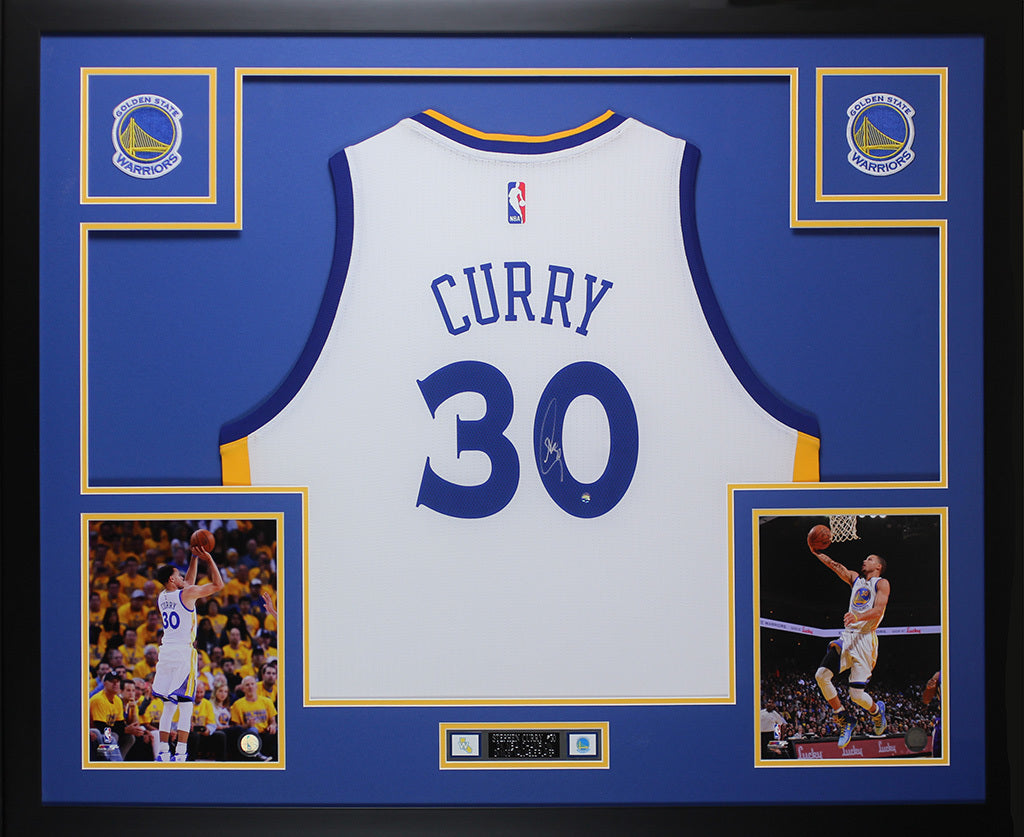low cost a6627 cc1ee Stephen Curry Autographed & Framed White Warriors Jersey Auto Steiner COA  D6-L