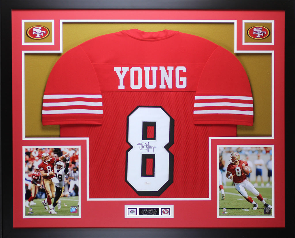 9db24ecba Steve Young Autographed   Framed Red 49ers Jersey Auto JSA COA D7-L – Super  Sports Center