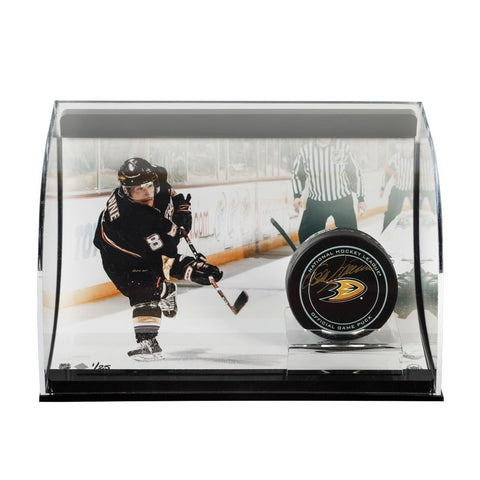 Teemu Selanne Autographed Anaheim Ducks Puck with Slap Shot Curve Display