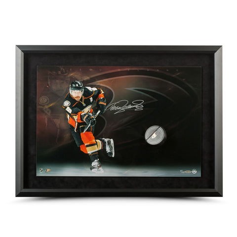 Teemu Selanne Autographed Anaheim Ducks Slap Shot Breaking Through