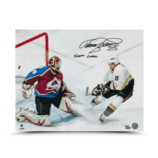 Teemu Selanne Autographed & Inscribed 500th Goal Photo