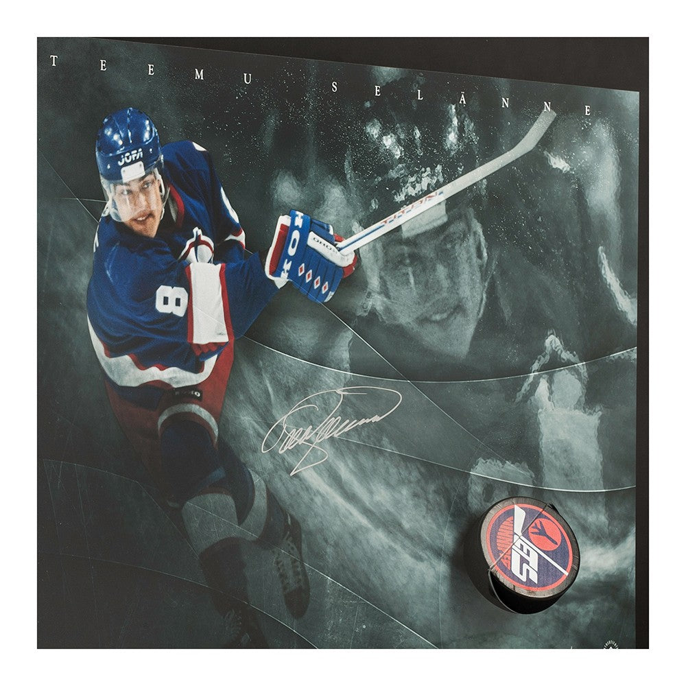super popular 8f6be 99628 Teemu Selanne Autographed Winnipeg Jets Slap Shot Breaking Through