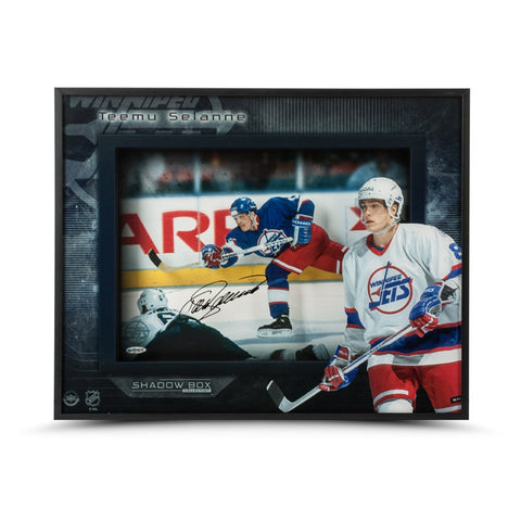Teemu Selanne Autographed Young Guns Winnipeg Shadow Box