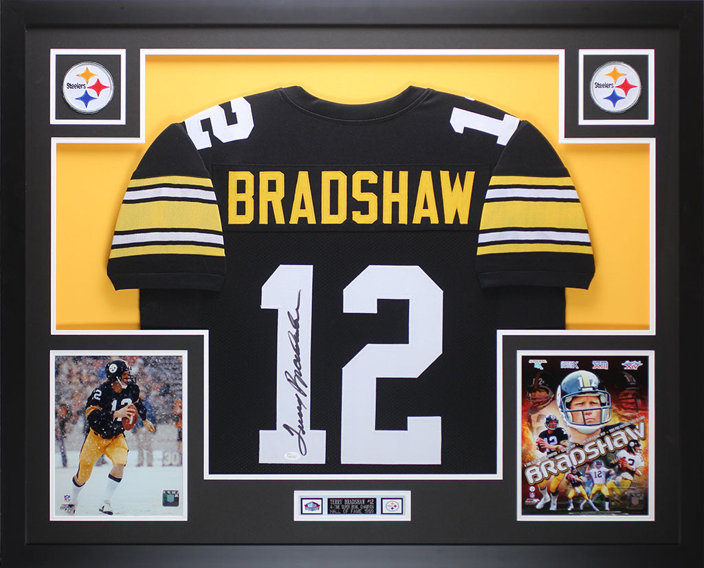 79417da4902 Terry Bradshaw Autographed and Framed Black Steelers Jersey Auto JSA C –  Super Sports Center