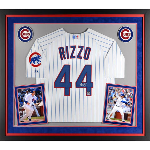 Anthony Rizzo Chicago Cubs Deluxe Framed Autographed White Authentic Jersey