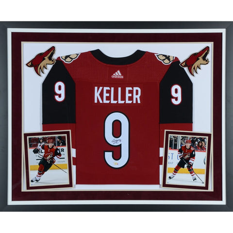 Clayton Keller Arizona Coyotes Deluxe Framed Autographed Red Adidas Authentic Jersey