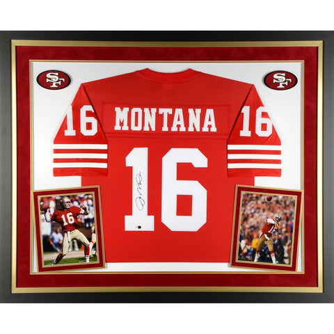Joe Montana San Francisco 49ers Deluxe Framed Autographed Red Proline Jersey