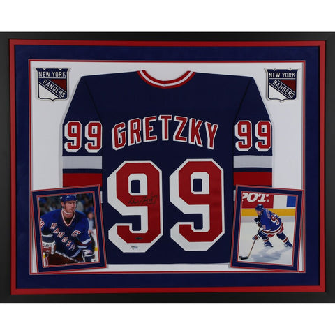 Wayne Gretzky New York Rangers Deluxe Framed Autographed Blue CCM Replica Jersey - Upper Deck