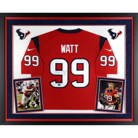 J.J. Watt Houston Texans Deluxe Framed Autographed Nike Limited Red Jersey