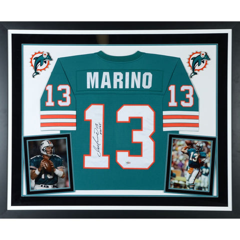 "Dan Marino Miami Dolphins Deluxe Framed Autographed Mitchell & Ness Teal Replica Jersey with ""HOF 05"" Inscription"