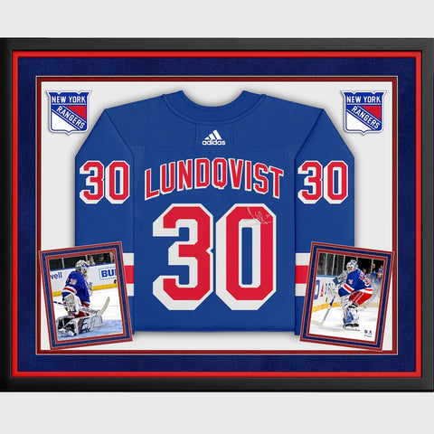 Henrik Lundqvist New York Rangers Deluxe Framed Autographed Blue Adidas Authentic Jersey