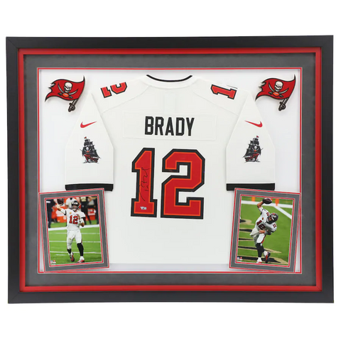 Tom Brady Tampa Bay Buccaneers Deluxe Framed Autographed White Nike Game Jersey