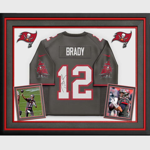 Tom Brady Tampa Bay Buccaneers Deluxe Framed Autographed Pewter Nike Game Jersey