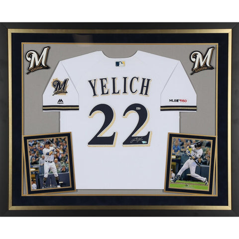 Christian Yelich Milwaukee Brewers Deluxe Framed Autographed White Majestic Authentic Jersey